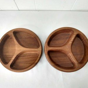 Dansk LOT of 2 Wooden Divided Serving Dish Bowls